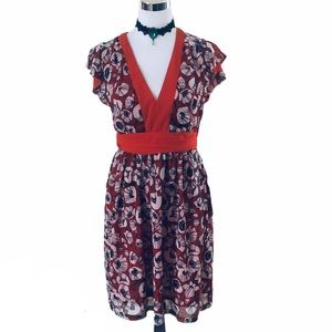 Cute Red Floral H&M Dress Size 8